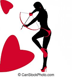 Woman Cupid Archer Silhouette - Silhouette of Lady Cupid...