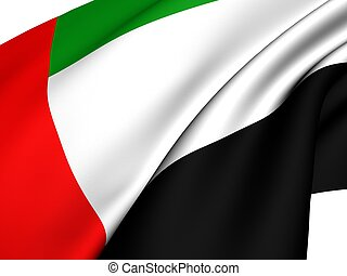 Flag of United Arab Emirates against white background.