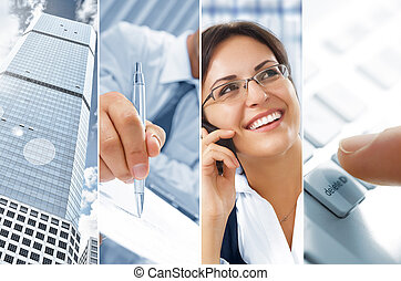 business - Business theme photo collage composed of...
