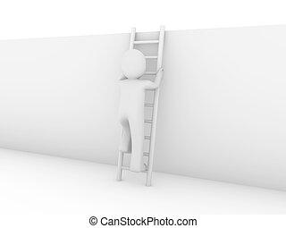 3d human ladder wall success