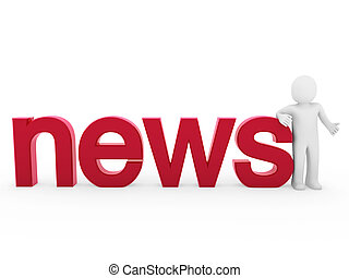 3d human news read red isolated white business