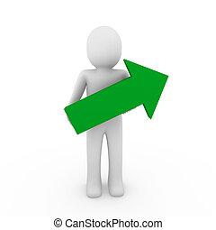 3d human arrow success green high business