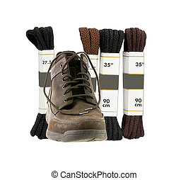 shoe laces with shoe on a white background