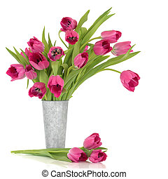 Pink Tulips - Pink tulip flowers in a distressed aluminum...