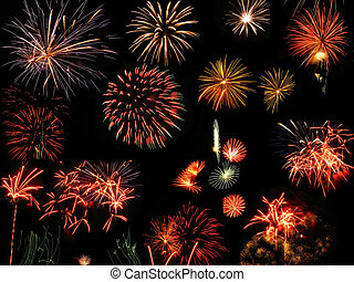 Colorful and vibrant fireworks - Colorful fireworks over...