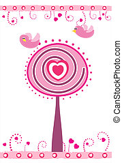 Valentine's day card with tree, heart and birds