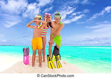 Children on sunny beach - Three children with beachwear...
