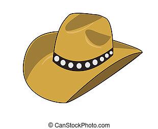 Ilustración, vaquero, sombrero