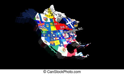 3D USA with State Flags Washington - 3D CG Map of USA with...
