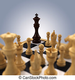 Chess king Cornered - A black chess king is pushed into the...