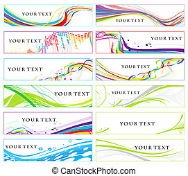 Abstract banners on 12 different themes, , vector...