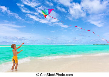 Boy flying kite on beach - Young boy flying kite on idyllic...