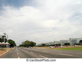Government Buildings in Brasilia - Large highway and...