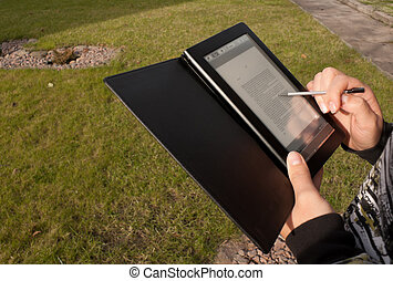 E-book reader with stylus