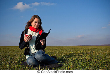 Girl reading a e-book
