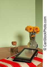 E-book reader on the table