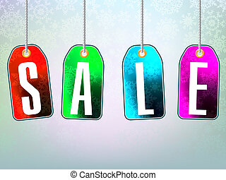 Colorful sale advertisement over background - Blue, green,...