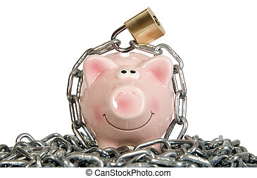Saving pig is secured with lock - Saving pig is secured with...