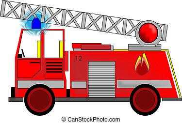 Ilustração, fogo, motor