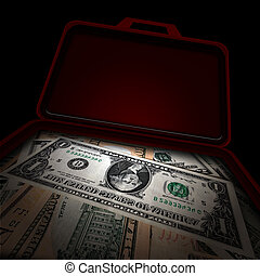 Suitcase of money - Suitcase full of money over black...