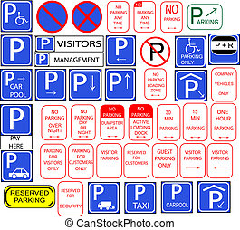 Several parking signs