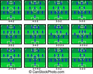 Soccer tactics - Vector of 12 different soccer tactics