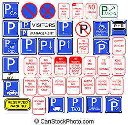 Several parking signs - Only parking signs isloted in...