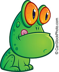 Sitting Frog - Vector cartoon illustration of a silly green...