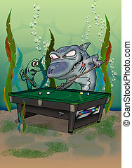 pool shark - shark playing pool with another fish who is...