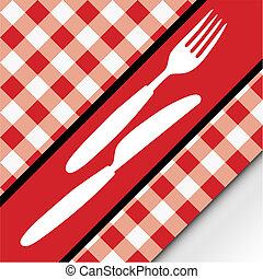 Red Gingham Menu Card