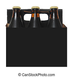 Six Pack of Dark Beer Bottles - Six pack cardboard carton...