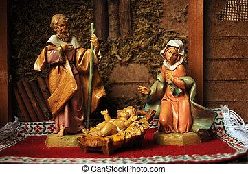 Baby Jesus in a Nativity Scene