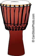 Djembe - tamtam percussion drum - Vectorized percussion drum...