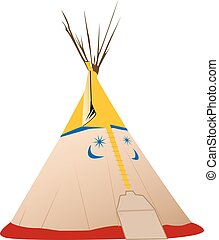 Vector Tipi illustration - Native american, colored tipi...