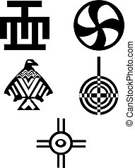 American and african symbols - Indians - Five different...
