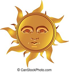 Mayan Incan sun - Maya, vector - Mayan - Inca type of golden...