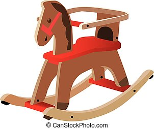 Red painted wooden horse Kids toy, fully vectorized and...