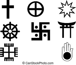 Five different native American and african  symbol