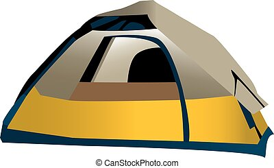 Camping tent - Illustration of domed camping tent, isolated...