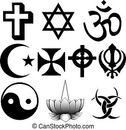 Different religions symbols - ten different symbols fully...