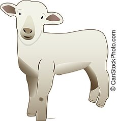 Vectorize cute baby sheep - A hand drawn vectorized...