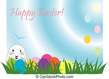 Cute Easter rabbit, great for a quick card, paper background...