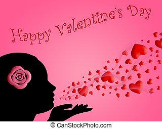 donna,  valentines, baci, soffiando, cuori, giorno, Felice