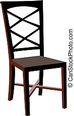 Vectorized wooden chair, isolated against a white background