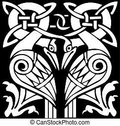 A vector illustration of a dual Celtic bird pattern and...