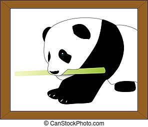 Vectorized cute Panda - Panda holding a bamboo stick on...