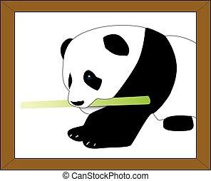 Vectorized cute Panda - Panda holding a bamboo stick on...