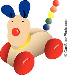 Push-along toy dog - Vector illustration of traditional toy...