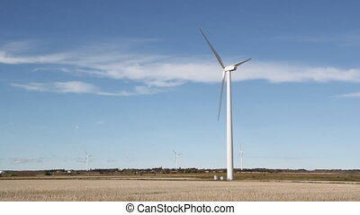 Windmills in field. - Modern wind turbines. Blue sky with...