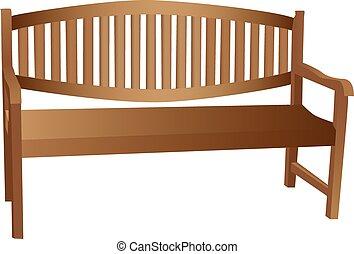 ilustrado, de madera, banco